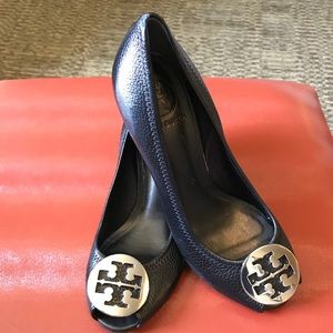 Tory Burch KARA peep toe wedge pumps